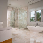 spacious, modern master bathroom