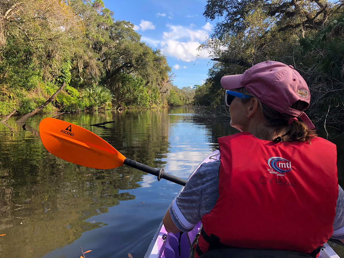 Kayaker on the North Fork of the St. Lucie River
