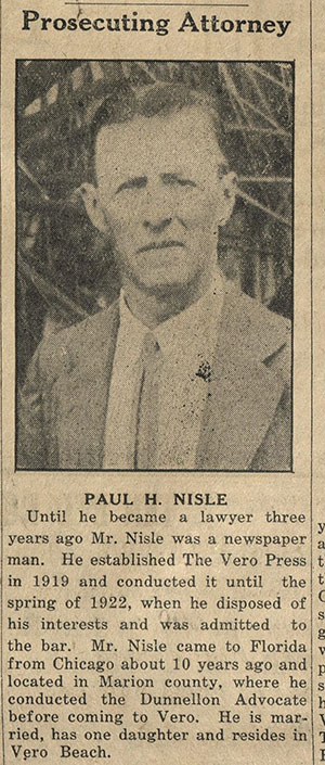 Paul H. Nisle, attorney and editor of the Vero (Beach) Press