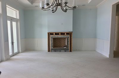 The living room and dining area, a blank canvas