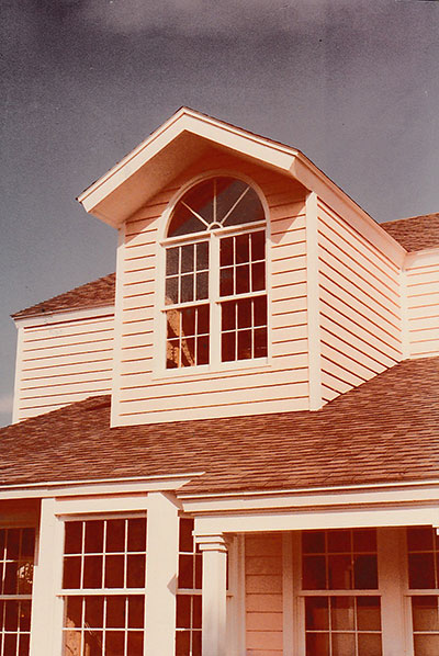 second story, dormer windows