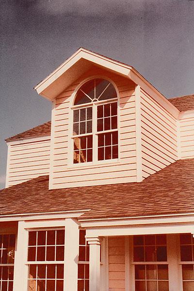 second story, dormer windows