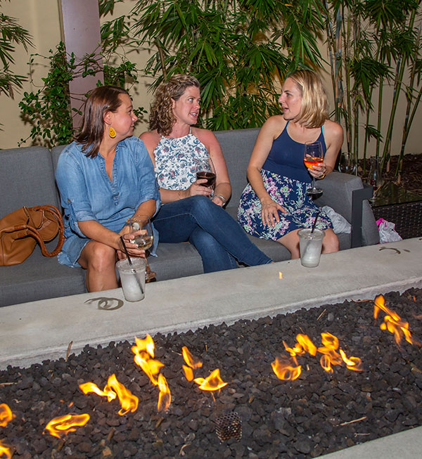 On a warm fall evening, the fire pit is a great place for after-dinner drinks and conversation.