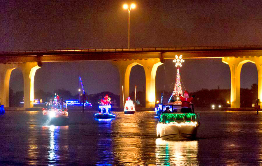 holiday-decorated boats