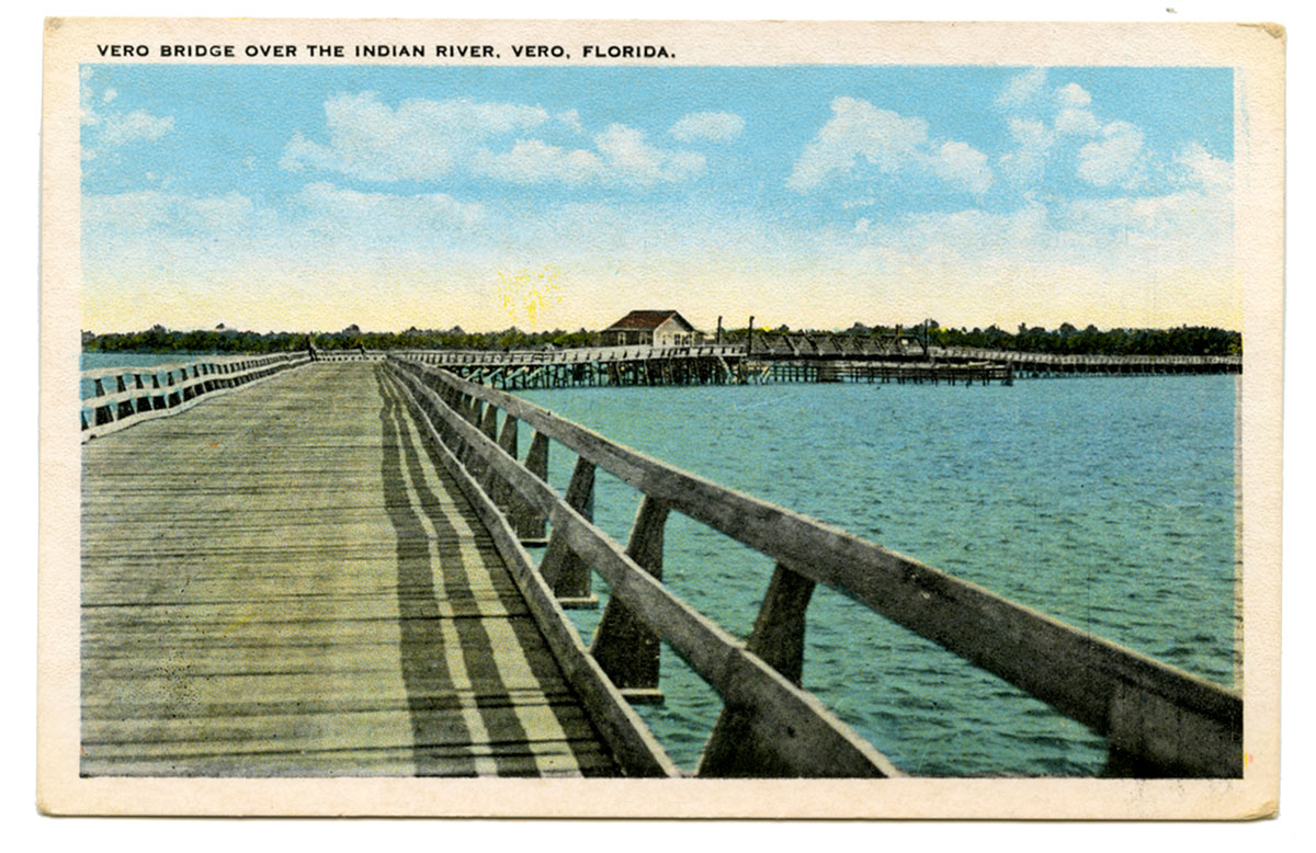 first wooden bridge to cross the Indian River