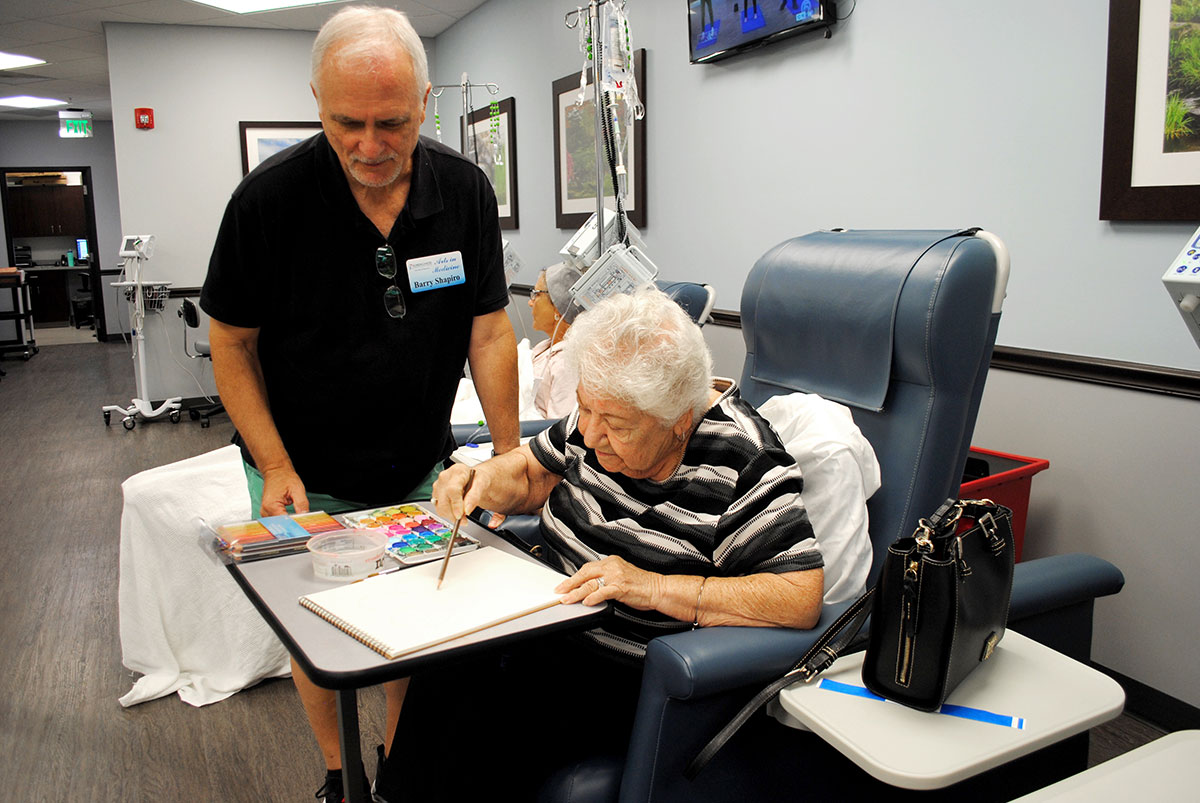 Shapiro instructs patient Mary Hoke on a coloring project.
