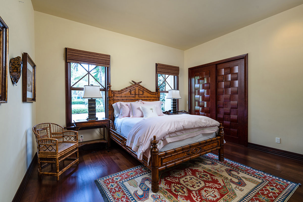 A guest room with custom-built doors