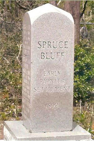 monument in Spruce Bluff Preserve