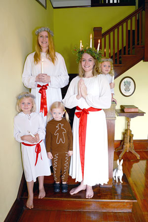 a Swedish-American family that has been performing the St. Lucia ceremony at Hallstrom House every year since 2015