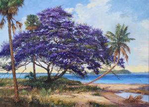 2014 oil painting, Jacaranda Island