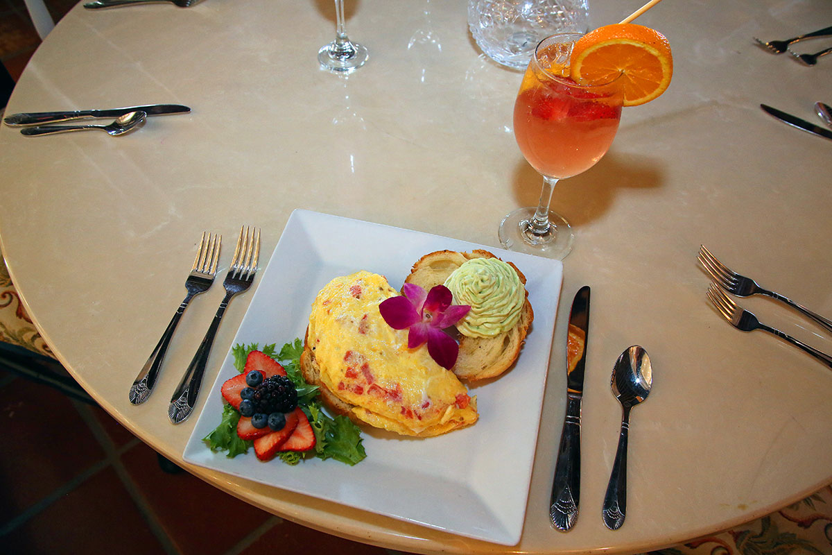 The Whipped Avo Croissant omelet and bottomless Sangria