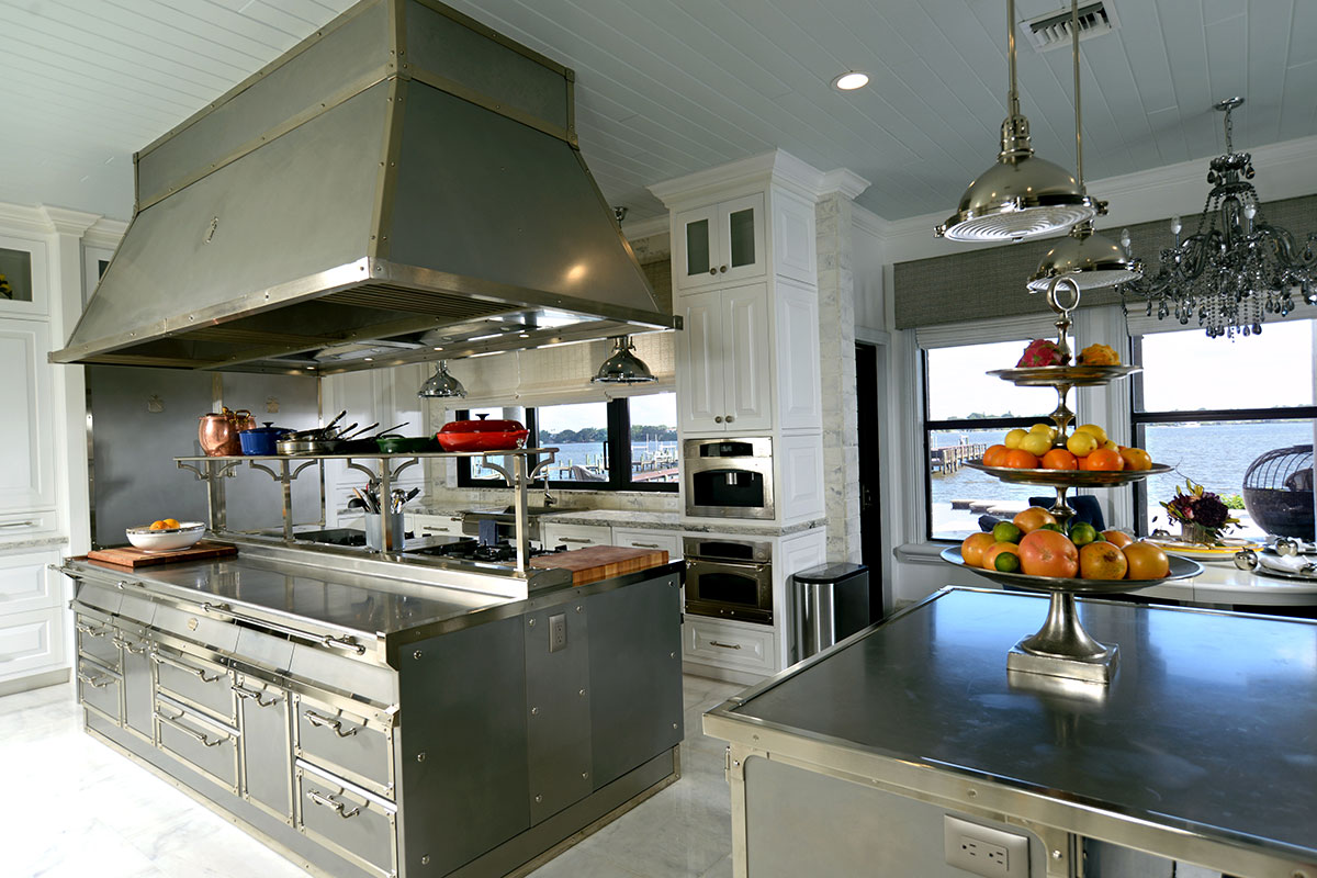 The stainless steel, commercial kitchen