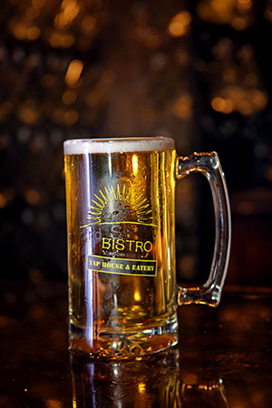Fifty draft beers are on tap and served in large steins