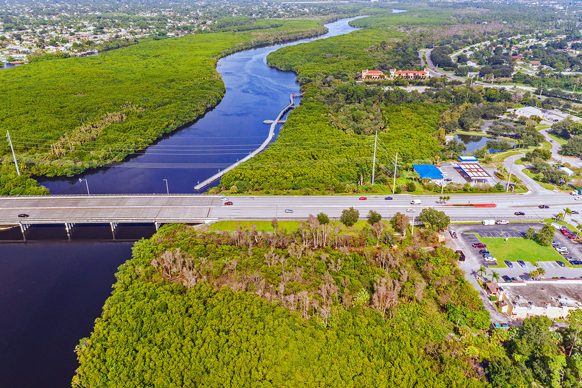 aerial view shows the Port St. Lucie Boulevard bridge and a portion of Westmoreland Park