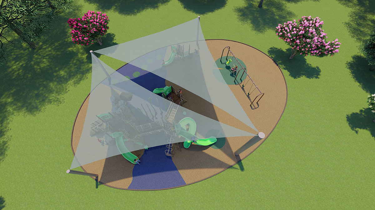 Large shade sails will provide the playground with protection