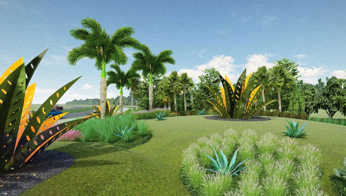 Five agave sculptures
