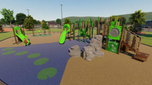 rendering shows the playground planned for the city's new Winterlakes Neighborhood Park