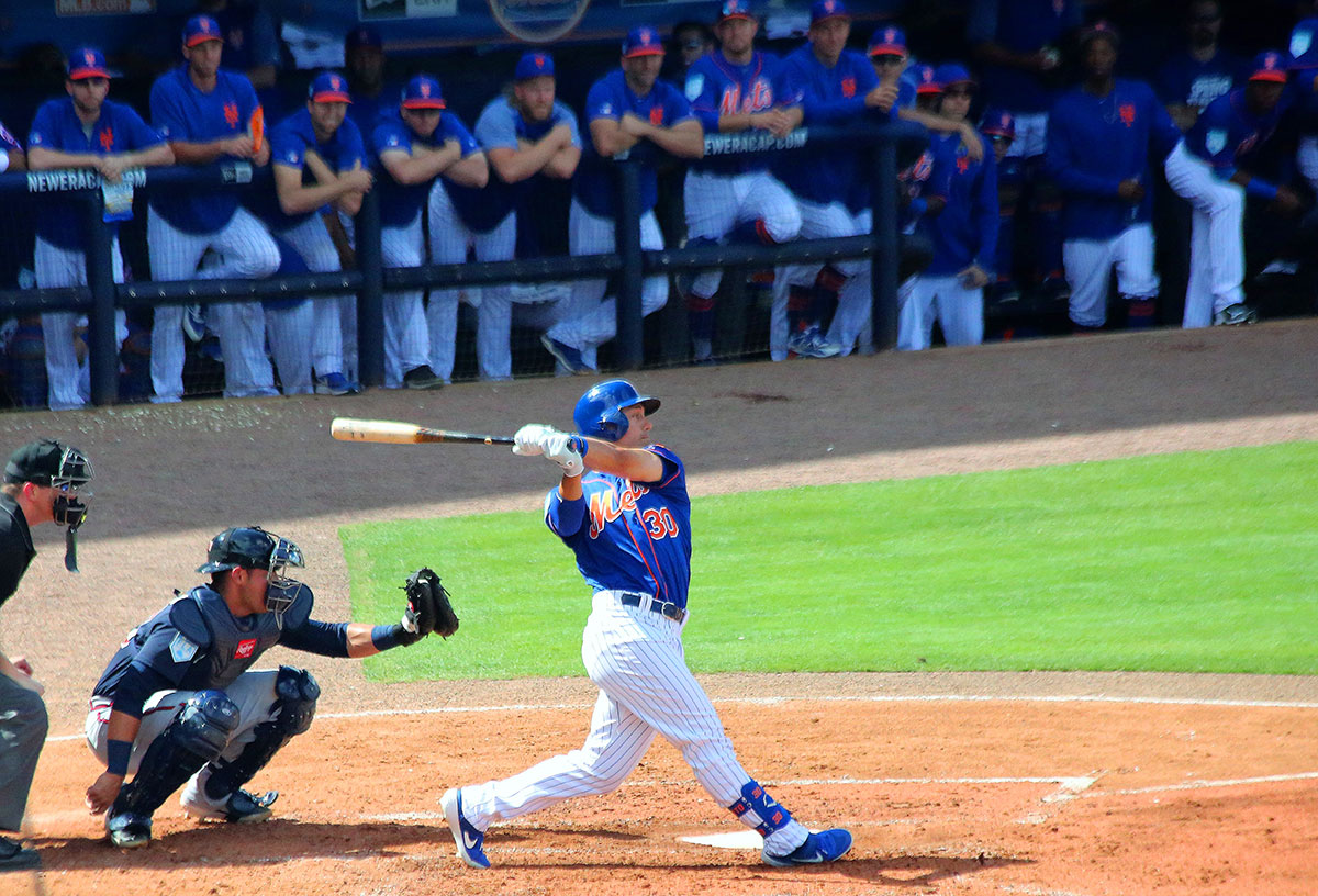 Michael Conforto eyes a home run last year at Mets Spring Training