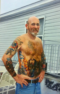 A Walk in the Park explores residents of Florida's mobile home parks, including this tattooed subject.