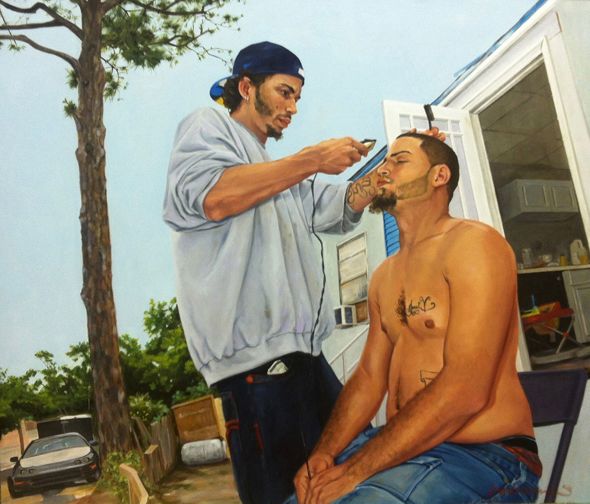 Part of Carbonara's fascination with mobile home parks is how life takes place outside the confines of the trailer, such as this one depicting a haircut.