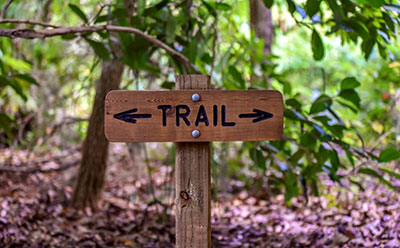 The trail head at Possum Long Nature Center in Stuart