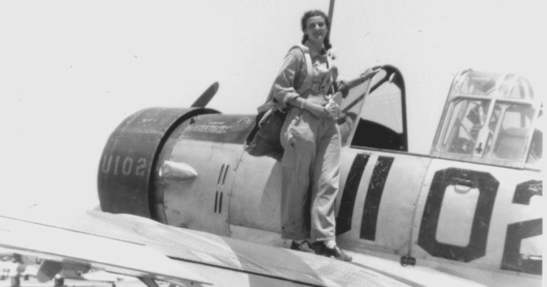 Female pilots performing flyover for esteemed woman aviator, 99, in assisted living