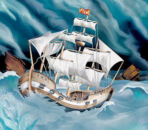 treasure ship illustration