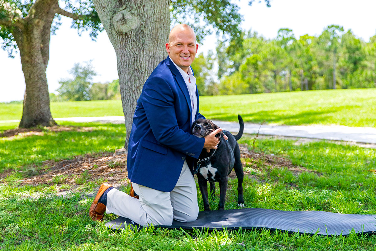 Mayor Gregory J. Oravec, with his dog Duncan
