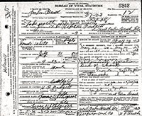 Jimmie D. Rebecca Padgett's death certificate