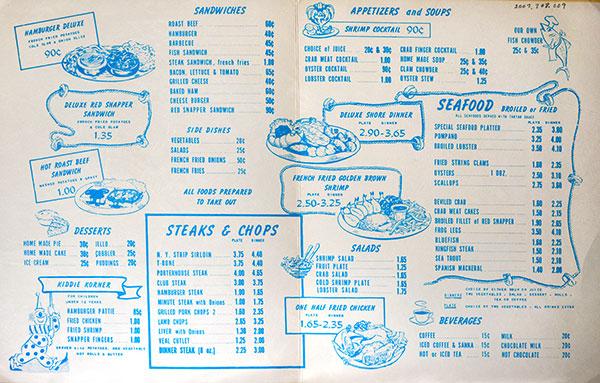 Simonsen's menu