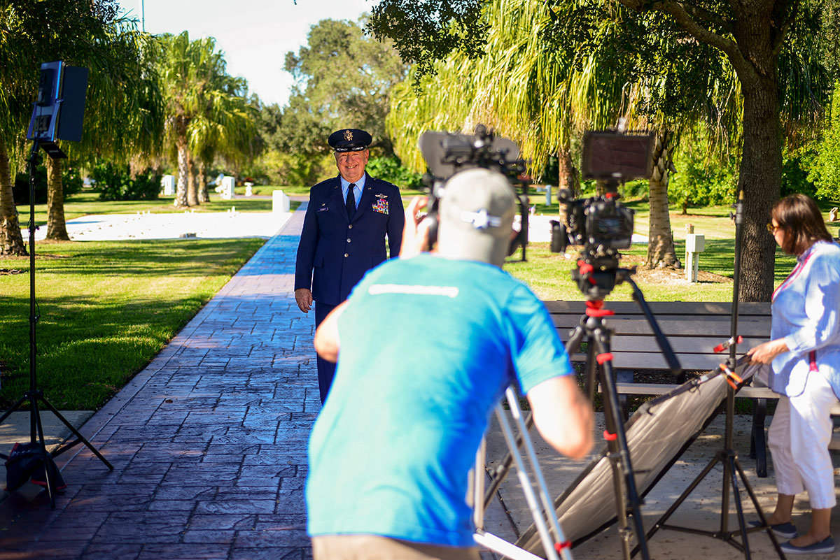 Zickert recalls his military career for a film crew