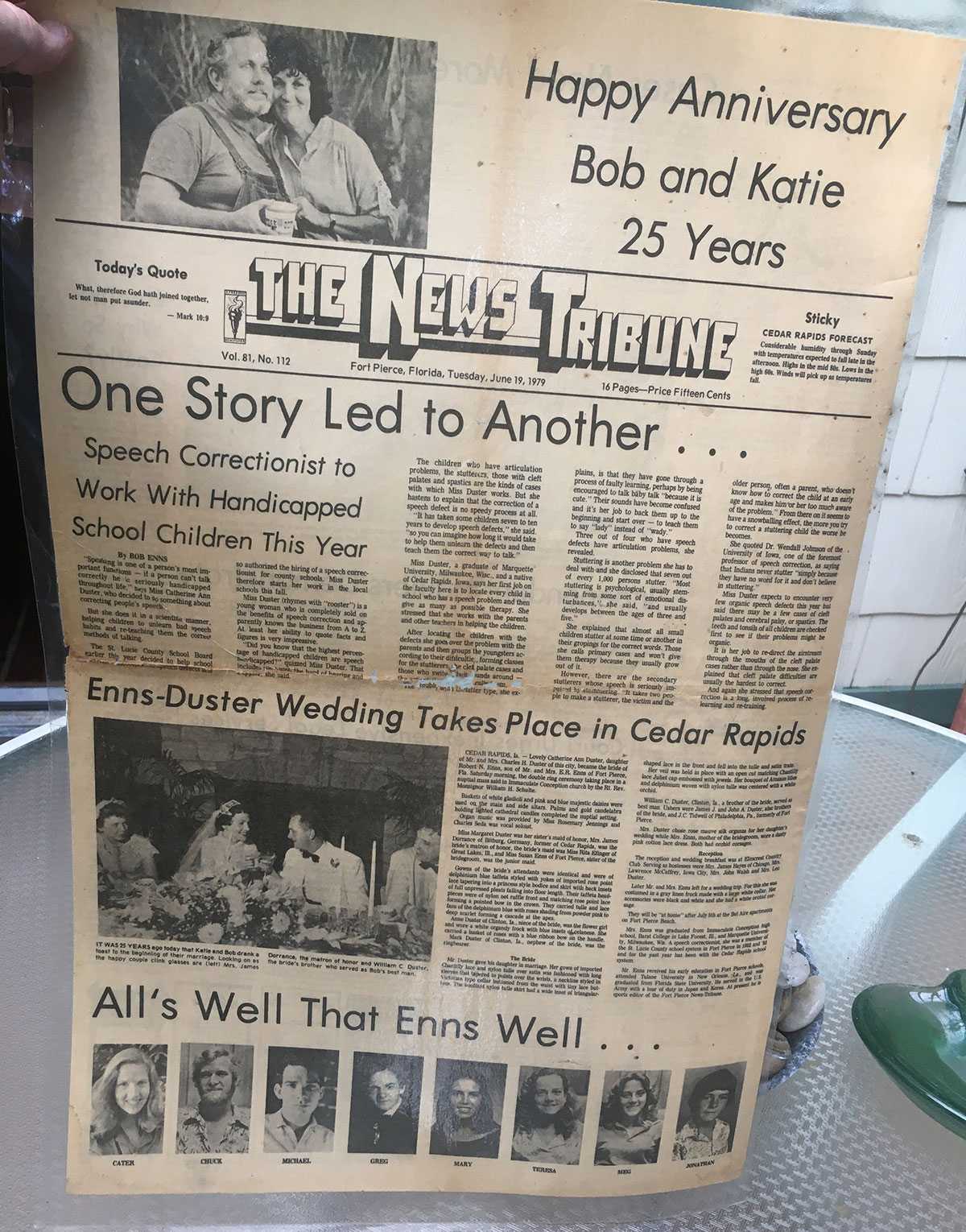 The News-Tribune created this special edition for Bob and Katie Enns