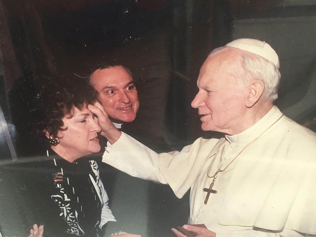 Katie Enns is blessed by Pope John Paul II