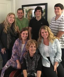 Katie and six of her 12 grandchildren