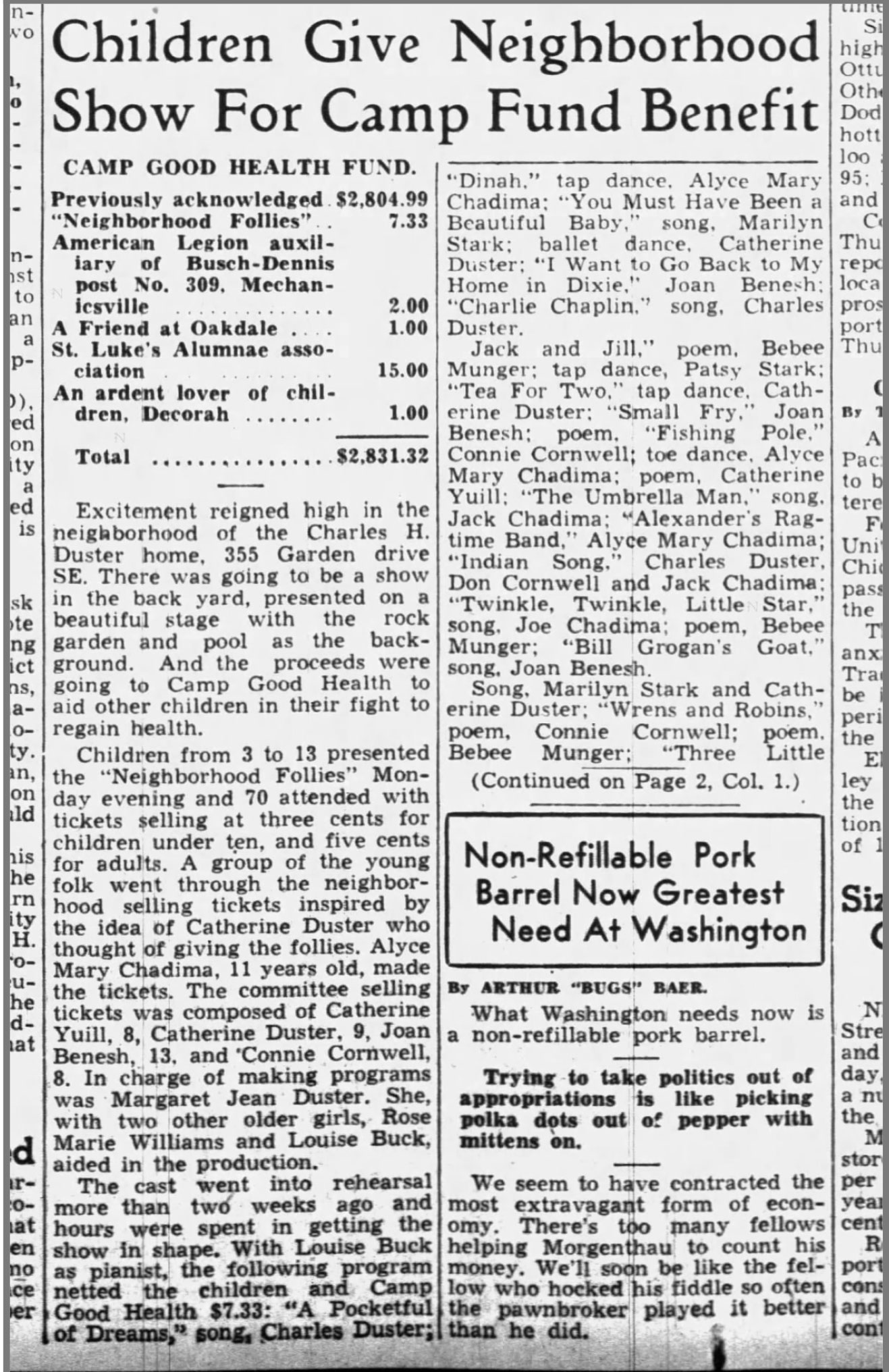 A 1939 front page article in the Cedar Rapids Gazette