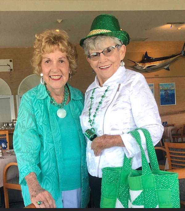 Katie and friend Alice Nash at the Pelican Yacht Club for St. Patrick's Day.