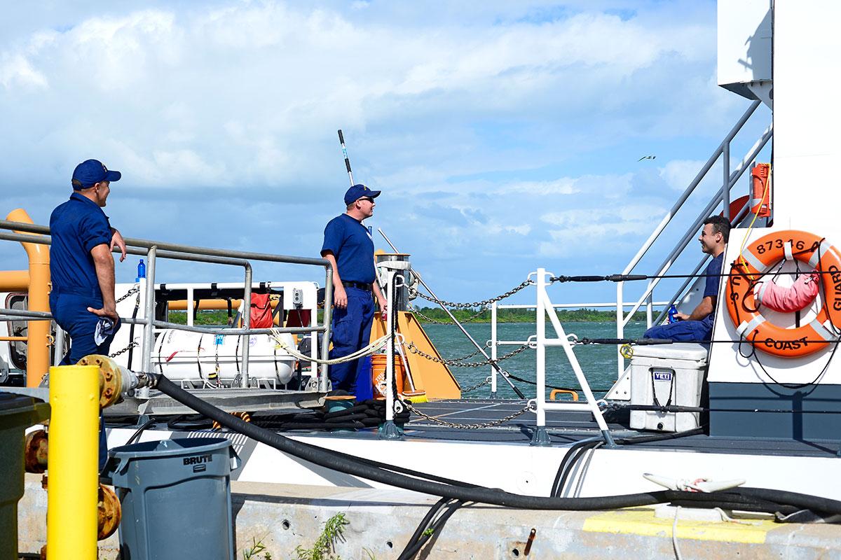 Crew members on the Ibis