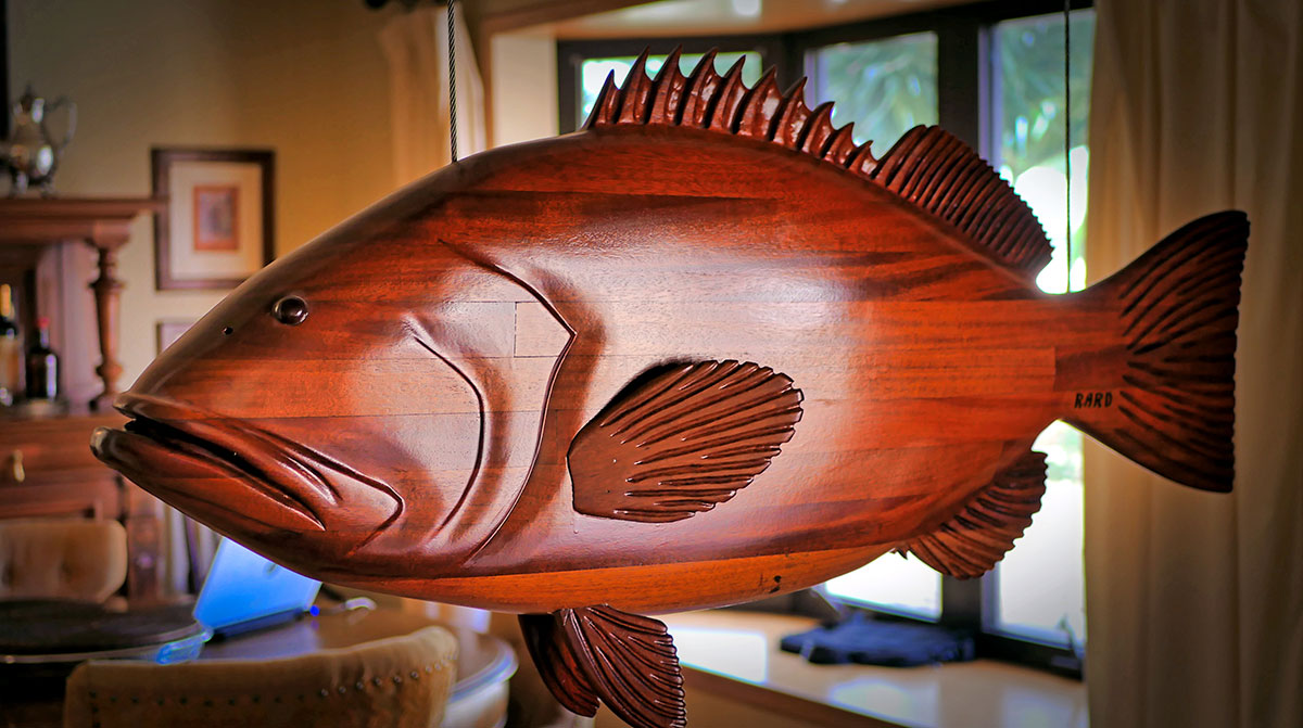 black grouper, carved from a piece of laminated mahogany