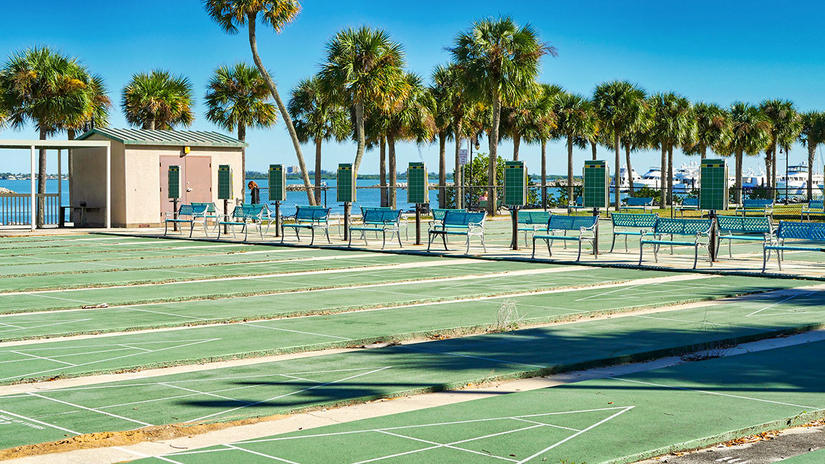 Shuffleboard courts at Veterans Memorial Park