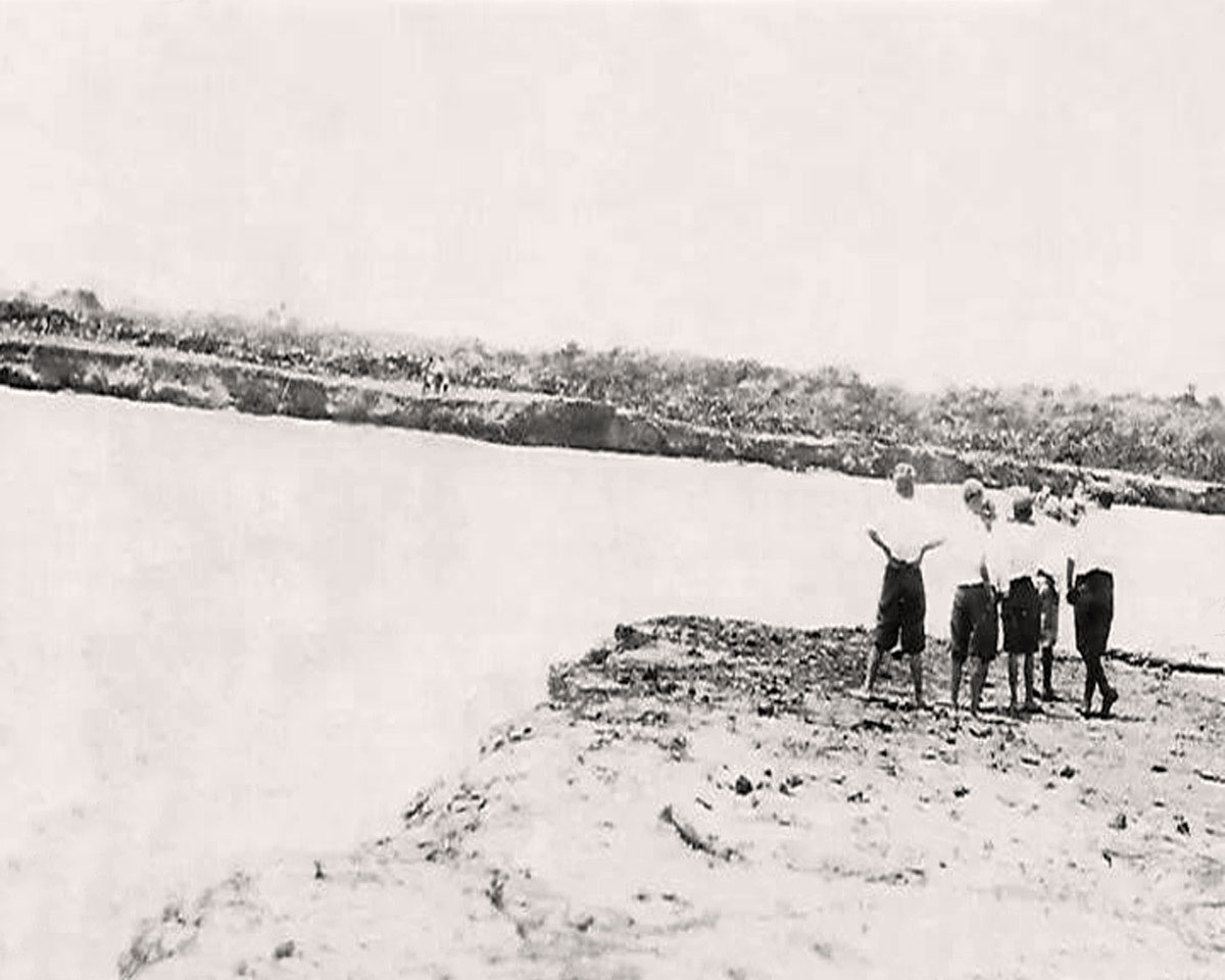 Boys viewing new inlet 1921