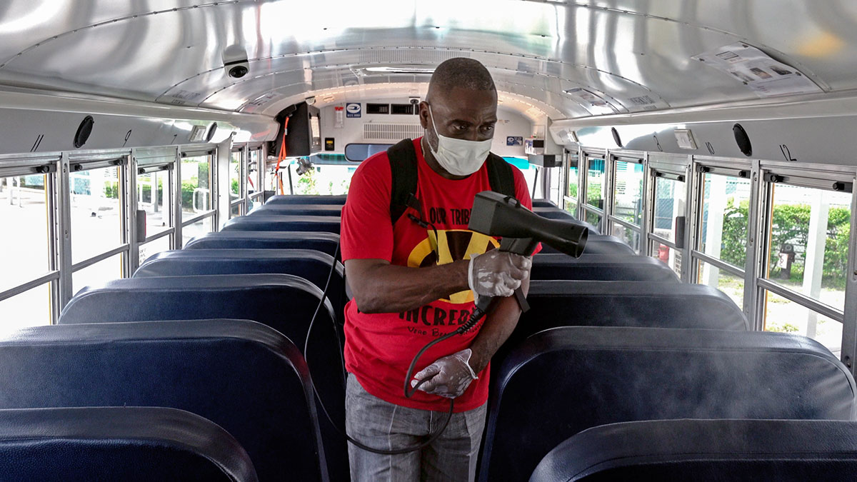 Special sanitizing equipment for buses