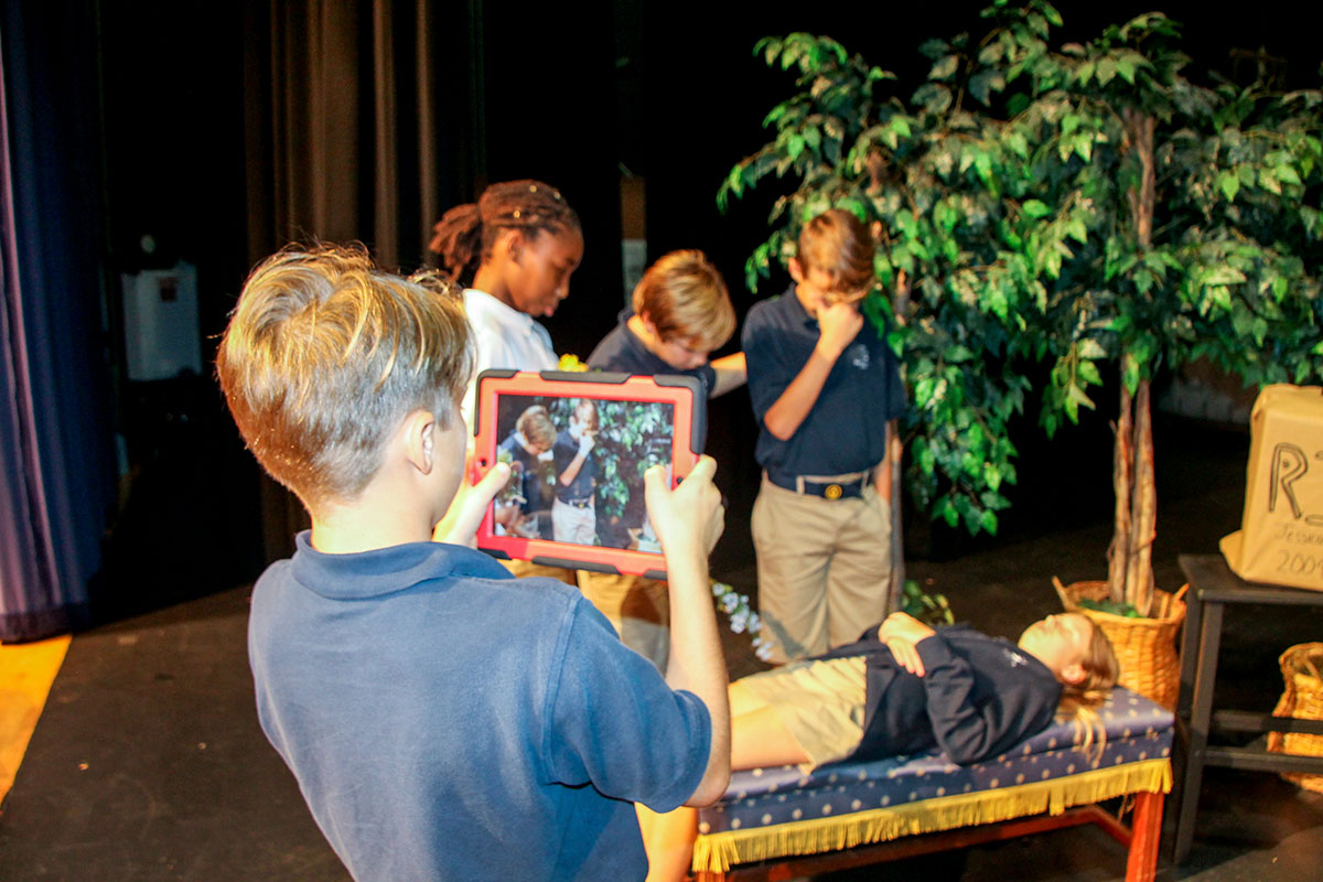 Students in Baker's drama class