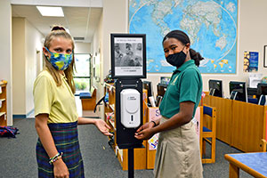 students practice safety protocols