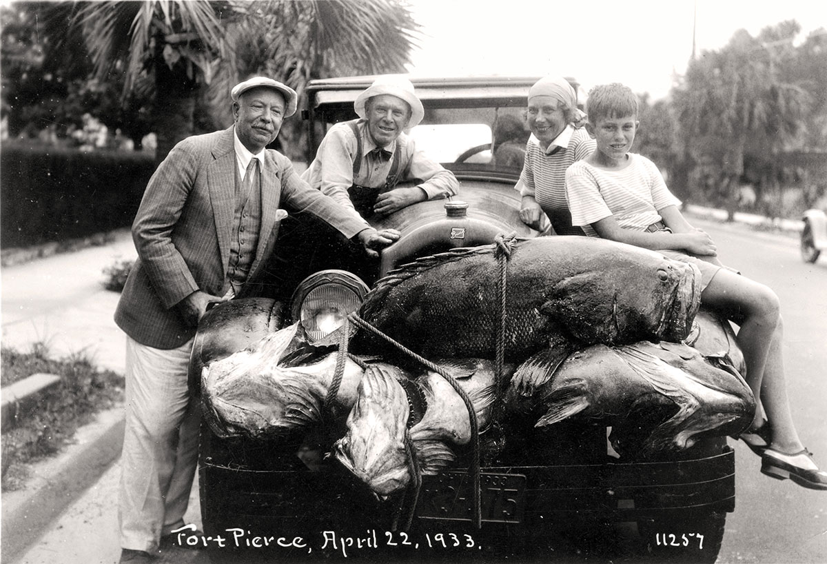 Edwin Binney after a day's fishing with friends in 1933
